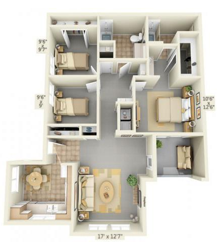 Floor Plan  Autumn Oaks Apartments Scarlet 3x2 Floor Plan 1138 Square Feet, opens a dialog.