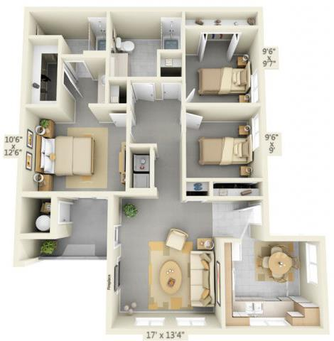 Floor Plan  Autumn Oaks Apartments Scarlet2 3x2 Floor Plan 1164 Square Feet, opens a dialog.