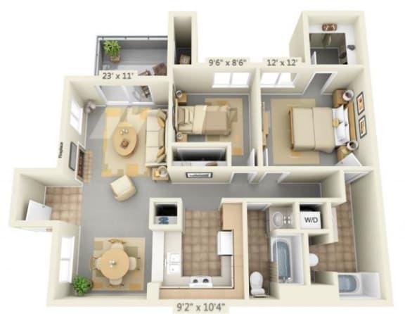 Floor Plan  Autumn Oaks Apartments Silverleaf 2x2 Floor Plan 905 Square Feet, opens a dialog.