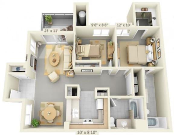 Floor Plan  Autumn Oaks Apartments Silverleaf2 2x2 Floor Plan 962 Square Feet, opens a dialog.