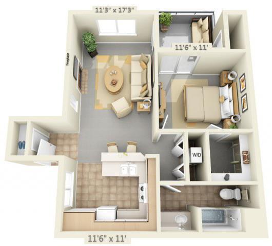 Floor Plan  Autumn Oaks Apartments Willow 1x1 Floor Plan 700 Square Feet, opens a dialog.
