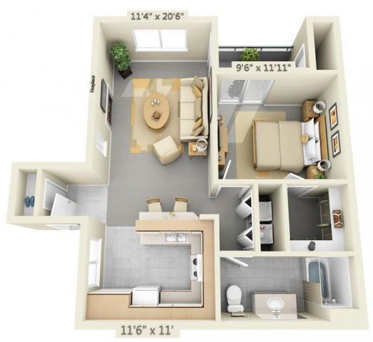 Floor Plan  Autumn Oaks Apartments Willow2 1x1 Floor Plan 746 Square Feet, opens a dialog.
