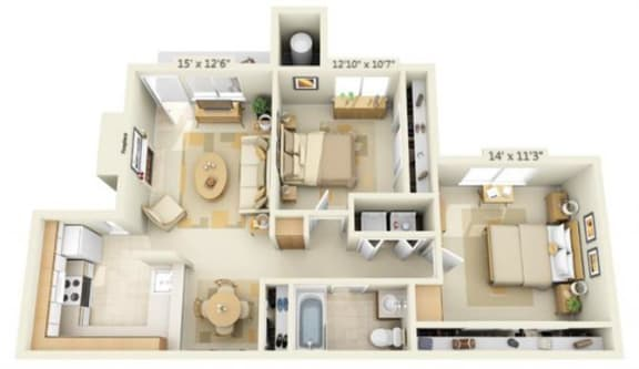 Floor Plan  Canterbury Downs Apartments 2x1 Floor Plan 841 Square Feet