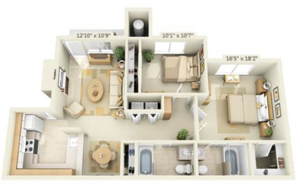 Floor Plan  Canterbury Downs Apartments 2x2 Floor Plan 892 Square Feet