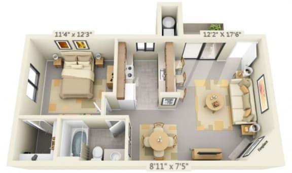 Floor Plan  Pepperwood Apartments 1x1 Floor Plan 610 Square Feet, opens a dialog.