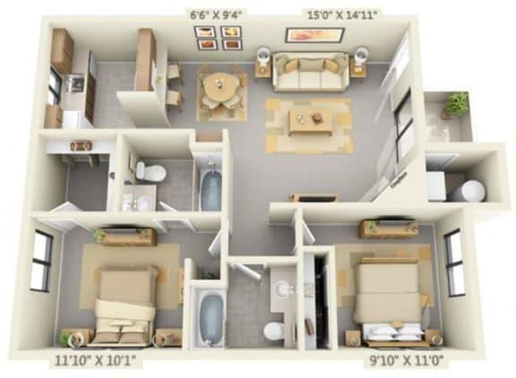 Floor Plan  Pepperwood Apartments 2x2 Floor Plan 859 Square Feet, opens a dialog.