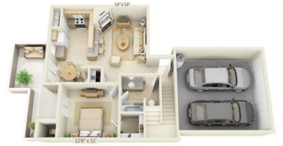 Floor Plan  Stoneridge Apartments Alabaster 3x2 Floor Plan 1276 Square Feet