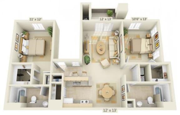 Floor Plan  Stoneridge Apartments Limestone 2x2 Floor Plan 1077 Square Feet
