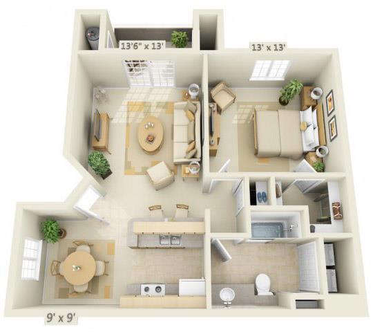 Floor Plan  Stoneridge Apartments Onyx 1x1 Floor Plan 750 Square Feet