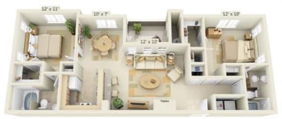 Floor Plan  Stoneridge Apartments Sandstone 2x2 Floor Plan 993 Square Feet