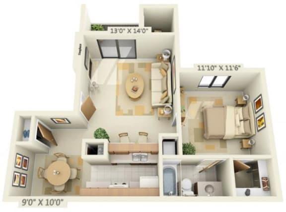 Floor Plan  Pheasant Pointe Apartments Cypress 1x1 Floor Plan 680 Square Feet
