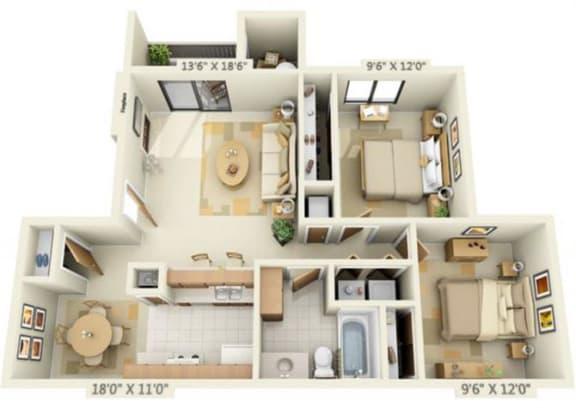 Floor Plan  Pheasant Pointe Apartments Magnolia 2x1 Floor Plan 860 Square Feet