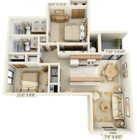 Floor Plan  Pheasant Pointe Apartments Sequoia 2x2 Floor Plan 926 Square Feet
