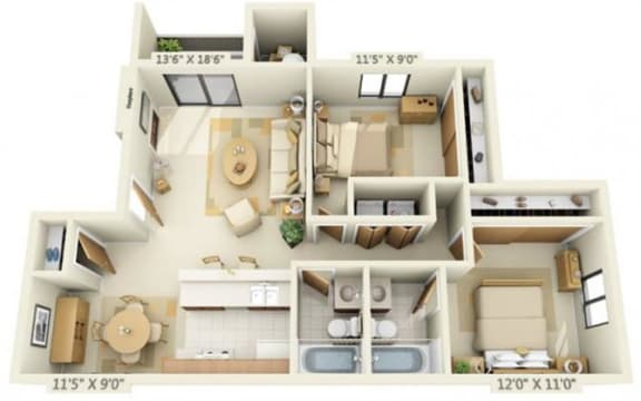 Floor Plan  Pheasant Pointe Apartments Willow 2x2 Floor Plan 887 Square Feet