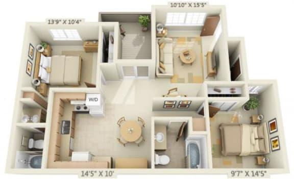 Floor Plan  Woodbridge Apartments 2x2 Floor Plan 875 Square Feet