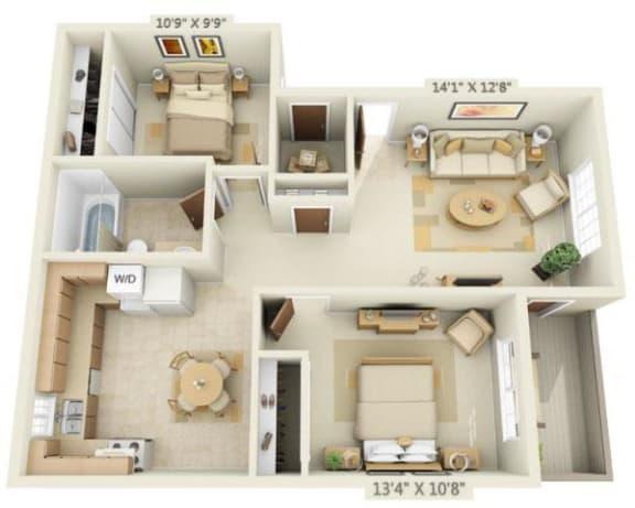 Floor Plan  Woodbridge Apartments 2x1 Floor Plan 765 Square Feet