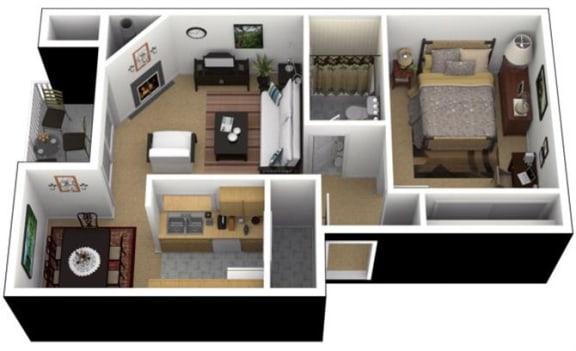 Floor Plan  Hunt Club Apartments 1x1 Jr. Floor Plan 580 Square Feet, opens a dialog.