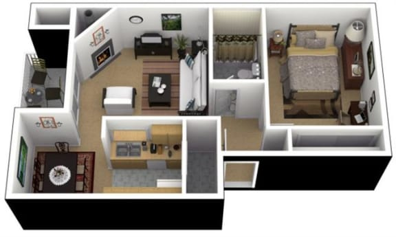Floor Plan  Hunt Club Apartments 1x1 Lrg. Floor Plan 637 Square Feet, opens a dialog.