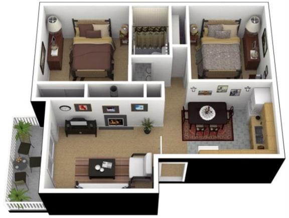 Floor Plan  Hunt Club Apartments 2x1 Floor Plan 788 Square Feet, opens a dialog.
