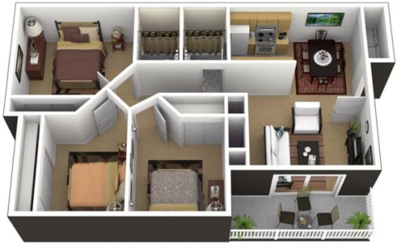 Floor Plan  Hunt Club Apartments 3x2 Floor Plan 1013 Square Feet, opens a dialog.