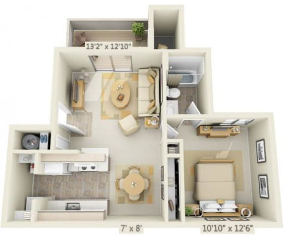 Floor Plan  Kings Court Apartments 1x1 Floor Plan 619 Square Feet, opens a dialog.