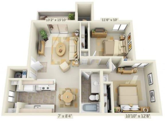 Floor Plan  Kings Court Apartments 2x1 Floor Plan 856 Square Feet, opens a dialog.