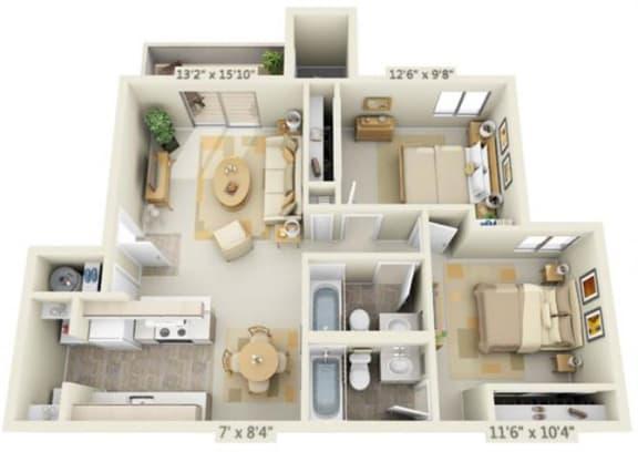 Floor Plan  Kings Court Apartments 2x2 Floor Plan 881 Square Feet, opens a dialog.