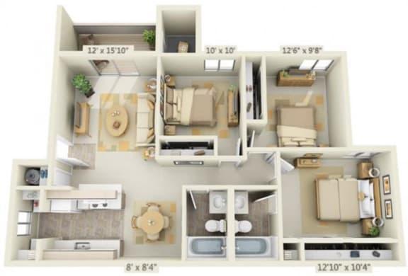 Floor Plan  Kings Court Apartments 3x2 Floor Plan 1019 Square Feet, opens a dialog.