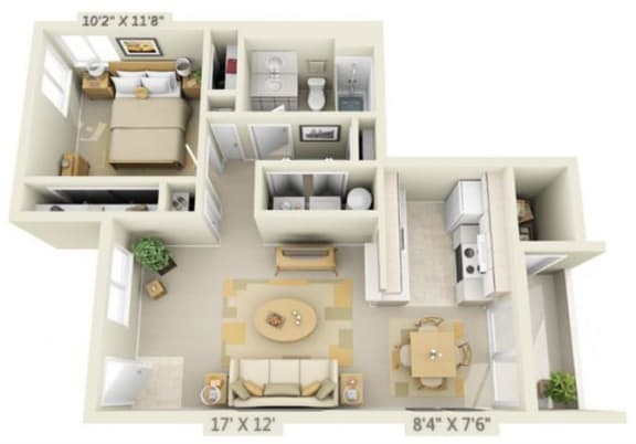 Floor Plan  St Marys Woods 1x1 Floor Plan 719 Square Feet