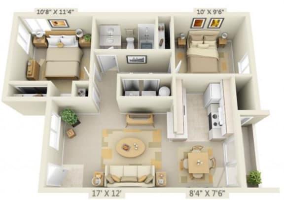 Floor Plan  St Marys Woods 2x1 Floor Plan 896 Square Feet