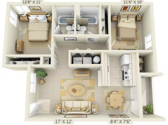 Floor Plan  St Marys Woods 2x2 Floor Plan 915 Square Feet