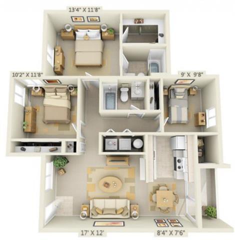 Floor Plan  St Marys Woods 3x2 Floor Plan 1105 Square Feet