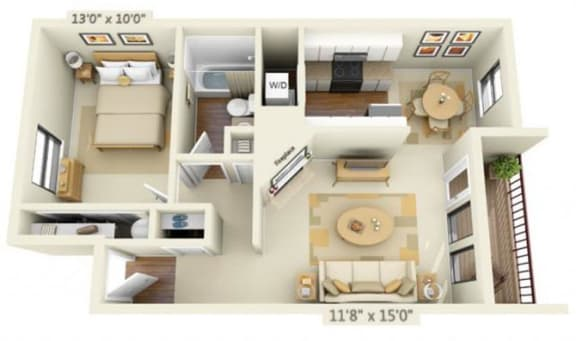 Floor Plan  Sunstone Parc Apartments 1x1 Floor Plan 620 Square Feet