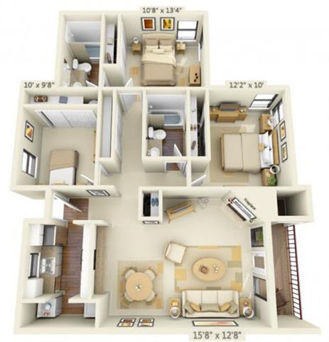 Floor Plan  Sunstone Parc Apartments 3x2 Floor Plan 1148 Square Feet