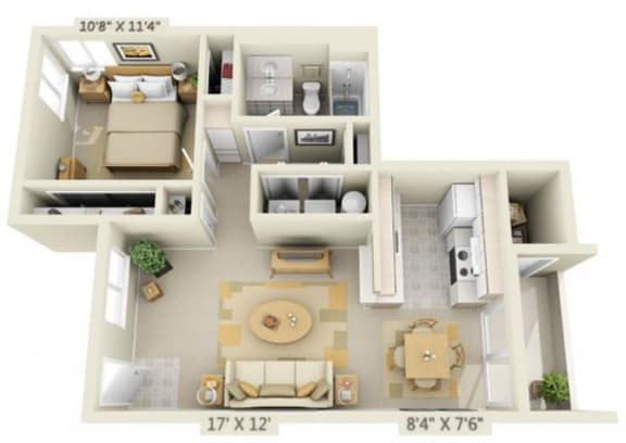 Floor Plan  Crown Court Apartments 1x1 Floor Plan 619 Square Feet, opens a dialog.