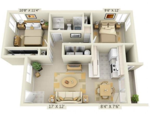 Floor Plan  Crown Court Apartments 2x1 Floor Plan 856 Square Feet, opens a dialog.