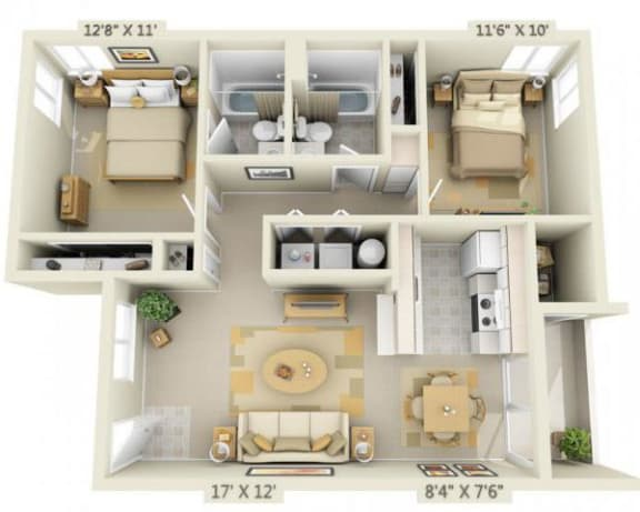 Floor Plan  Crown Court Apartments 2x2 Floor Plan 881 Square Feet, opens a dialog.