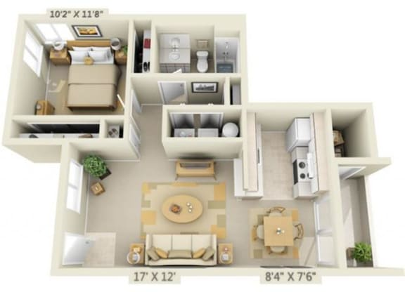 Floor Plan  Creekside Village Apartments 1x1 Floor Plan 719 Square Feet