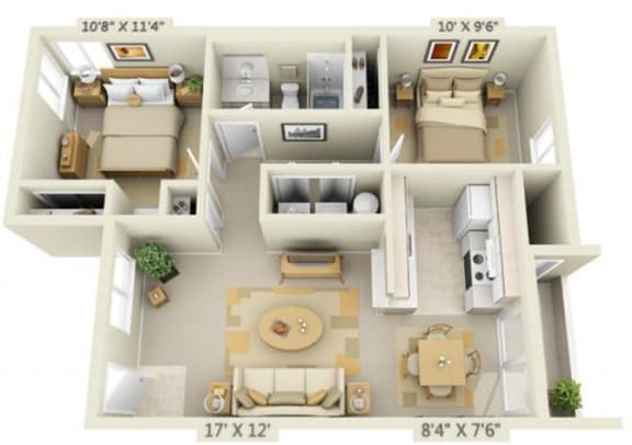 Floor Plan  Creekside Village Apartments 2x1 Floor Plan A 896 Square Feet