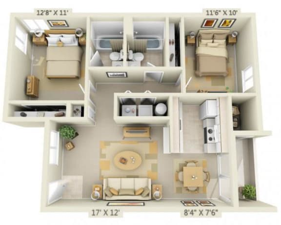 Floor Plan  Creekside Village Apartments 2x2 Floor Plan B 916 Square Feet