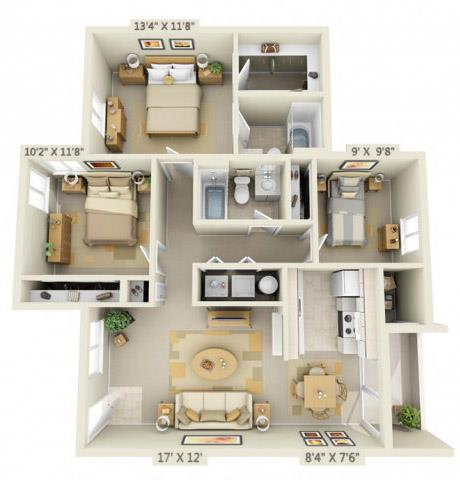 Floor Plan  Creekside Village Apartments 3x2 Floor Plan 1105 Square Feet