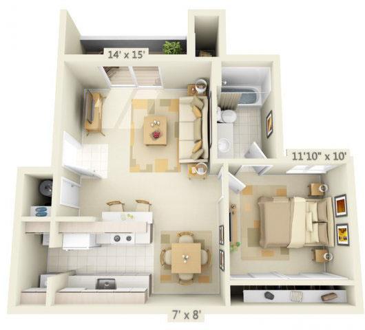 Floor Plan  Valley River Court Apartments 1x1 Floor Plan 680 Square Feet