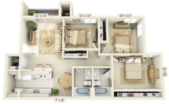 Floor Plan  Valley River Court Apartments 3x2 Floor Plan 1033 Square Feet