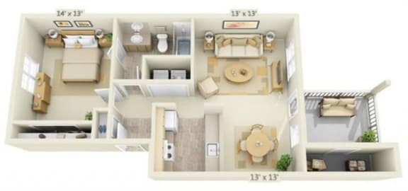 Floor Plan  Stillwater Apartments 1x1 Floor Plan 696 Square Feet, opens a dialog.