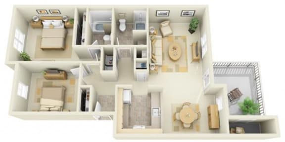 Floor Plan  Stillwater Apartments 2x2 Floor Plan 1002 Square Feet, opens a dialog.