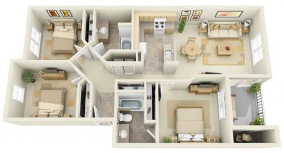 Floor Plan  Stillwater Apartments 3x2 Floor Plan 1173 Square Feet, opens a dialog.