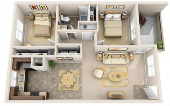 Floor Plan  The Landing Apartments 2x1 Floor Plan 913 Square Feet
