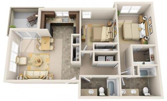 Floor Plan  The Landing Apartments The Anchor 2x2 Floor Plan 977 Square Feet
