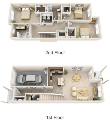 Floor Plan  The Landing Apartments The Bismark 3x2.5 Floor Plan 1634 Square Feet