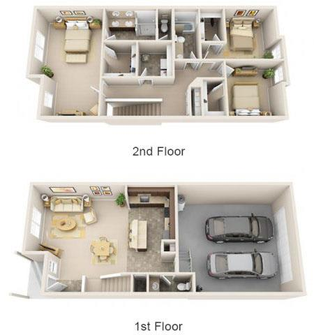 Floor Plan  The Landing Apartments The Caliente 3x2.5 Floor Plan 1778 Square Feet